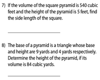 Volume of Pyramids | Missing Measure