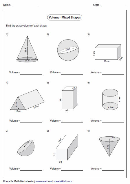 geometry volume worksheets