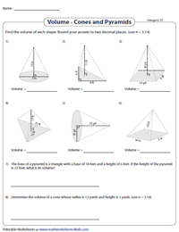 Volume of Cones and Pyramids | Integers