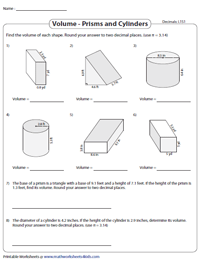 Volume of Prisms and Cylinders: Level 1 | Decimals