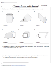 Volume of Prisms and Cylinders: Level 2 | Decimals