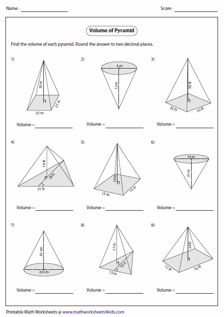 Worksheets Area And Volume Worksheets volume worksheets of pyramids