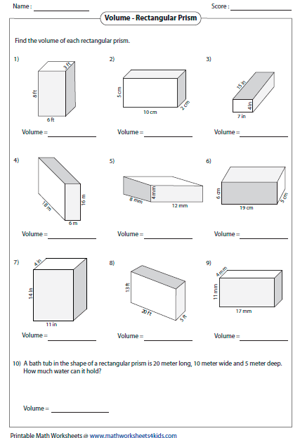 Each worksheet has 9 problems finding volume of rectangular prisms ...