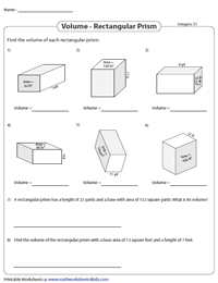 Volume of a Rectangular Prism Worksheets