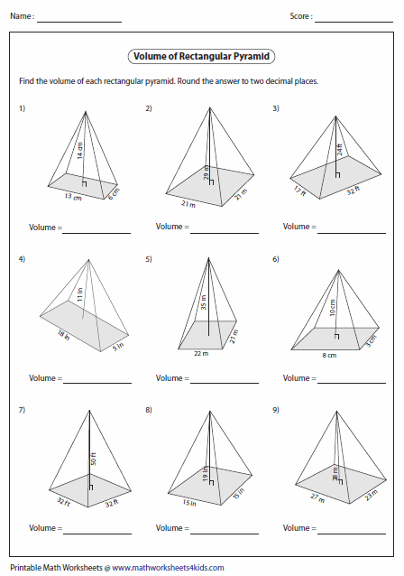 Worksheets Area And Volume Worksheets volume worksheets of rectangular pyramids