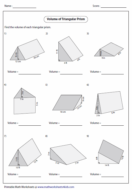 Worksheets Geometry Surface Area And Volume Worksheets volume worksheets of triangular prisms