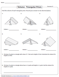 Volume of a Triangular Prism Worksheets