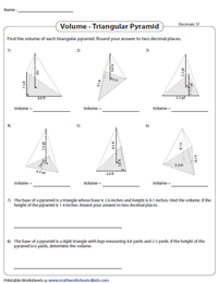 Find the Volume of Triangular Pyramids | Decimals