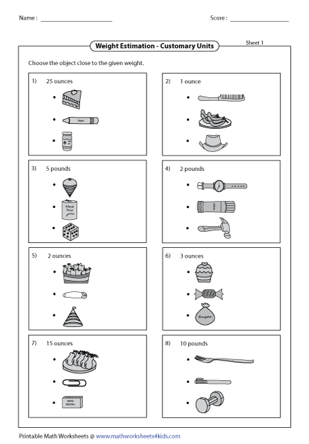 math worksheet : weight worksheets : Estimating Math Worksheets