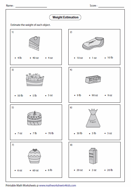 Number Names Worksheets free printable measurement worksheets : Weight Worksheets