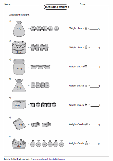 Weight of Single Item