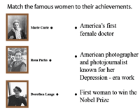 Match each woman with the description of her achievements