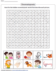 Onomatopoeia Word Search